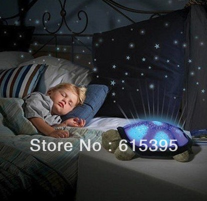free shipping Turtle Night Light Stars Constellation Lamp night have music for baby sleep Toy(China (Mainland))