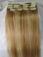 """20""""-26"""" 8pcs Attached Clips in Remy Indian Hair Extensions #12/613 Color 105g in Women's Beauty Hairsalon in Fashion #7"""