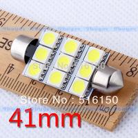 100pcs 41mm 9 SMD 5050 Pure White Dome Festoon 9 LED Car Light Bulb Lamp Interior Lights C5W Led