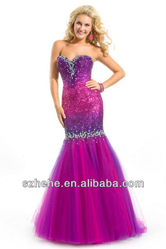 color washlight beaded mermaid celebrity dress(China (Mainland))