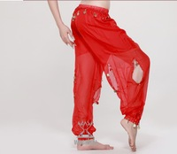 Belly dance Wear/Belly Dance Costume /100%Chiffon Sexy Belly Dance Bloomers Pants With Gold Coins 9Colors IN