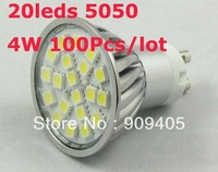 Wholesale Freeship LED Spotlight 20SMD 5050 LED Lamp GU10 E27 4W Warm Cool White High Brightness 100PCS/Lot Hot Sale