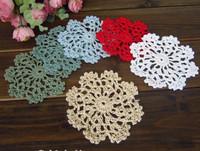wholesale Handmade Crochet Mat Cup Coaster Christmas Decoration, garment ornaments appliques hand crochet patches 200pcs/lot