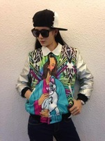 2012 winter Women coat jacket printing buccaneer lady cat Korea PU leather sleeve graffiti cotton thick warm baseball  coat