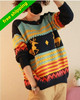 Beshion knitting woolen O- collar 2013  pullover  christmas women  geometry deer long knitted dresses DOLL sweater,free shipping
