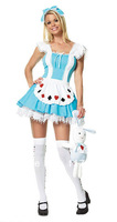 Free shipping ML5093 Sweet Girl In Wonderland Fairy Tales Costume Sexy Playcard Girl Costume(includes a dress and Headdress)