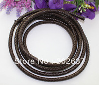 3 Meters of 8mm Brown Braided Bolo Leather Cord #22514 FREE SHIPPING