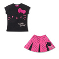 New Free shipping! 5pcs/lot!hello kitty Pleated skirt smiling face suit for children T-shirt +skirt /Children's suit,girls suit