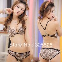 free shipping Wild leopard print temptation sexy front button bra women's underwear Build sexy fashion sense