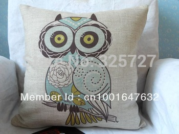 Wholesale Free ShippingThe linen cotton cute cartoon owl hand-painted cotton pillow cushions rely Upholstery pad car pillowcase