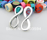 Wholesale 50Pcs fashion tibet silver digital 8 infinity Sign Charms connector 8*23mm