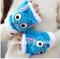 Free shipping Anime Fairy Tail 17cm Cut  Happy Cosplay Plush Warm Fingerless Gloves Toy