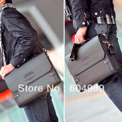 Free Shipping PJ Men&#39;s Shoulder Messenger Briefcase Leather Bag Bookbag BG65(Hong Kong)