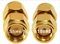 Free shipping  Gold-Plated  RF adapter RP-SMA male to SMA male straight   RP-SMA male to SMA male