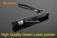 Free Shipping 1000MW Green Laser Pointer adjustable burn match  Flashlight style Long range10000Meter  with 1 star cap