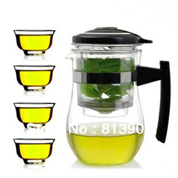 FREE SHIPPING+ Coffee & Tea Sets+High-temperature resistant glass+1000ml glass teapot+with filter+easy to use+4pcs cups+PIAOYI