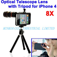 free shipping,8X Zoom Optical Telescope Lens Tripod For iPhone 4