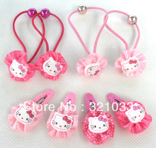 Wholesale - LOT 24 Packet 48 Pairs 96 Pcs Hello Kitty headband hairbands hairclips hair pins hair clip(China (Mainland))