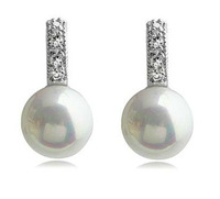 Free Shipping Factory  wholesale hot sell  fashion water drop shape pearl stud Earrings,4pairs/lot