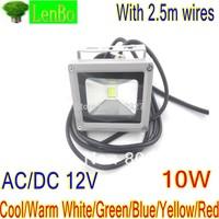 12V AC/DC 2.5M Plug Wire 10W LED Flood Light Warm White Outdoor Lights Grey Case LW2