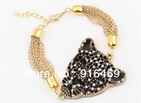 European and USA popular Delicate luxury rhinestone leopart head tassel  Bracelet free shipping RuYiSL72