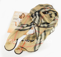 Light Gold  Color Plaid Pattern Silk Fashion Scarf 2014 Promotion Long Scarf +Free shipping Wholesale and Retail/VKS03