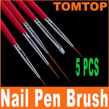 5sets/lot, 5 pcs Rose Design Pen Painting & Dotting Tool Nail Art Brush Set ,Dropshipping