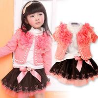 2014 Autumn Retail 3 Colors, Girls Jacket + Shirts+ Skirt 3 Pieces Sets, Children Fashion Flower Dress Suit, freeshipping