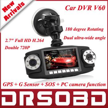 "2.7"" Full HD H.264  Portable Car DVR Double 720P Camera V60 300-megapixel CMOS sensor  TFT LCD Color Screen 180 degree Rotating"