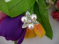 Free Shipping Popular Pearl Flower Bridal Wedding Hair Pin/Fork Jewelry Silver Plating  2.5*2.5*7cm 120pcs/Lot