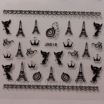 24 Designs Nail Stickers Decals Lips Anchor Skull Michael Jackson Eiffel Tower Crown  New 2013 Free Shipping