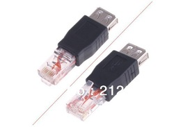 10pcs/a lot USB Female to Male Ethernet RJ45 Connector Adapter Free Shipping(China (Mainland))