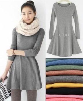 hot selling 10 colors women's ladies' long sleeve Grinding wool comfortable dress, Joker maxi casual dresses