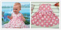 Sleeveless lovely baby Girls dress/Pink baby dress/Round dots baby girl dress