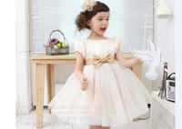 Wholesale New Summer beige short sleeve dress Baby girls beautiful clothing princess flowers dresses kids bow clothing 5pcs/lot