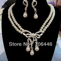 Double Strand Cream Pearl Jewelry Set Silver Bow Design and Pearl Drop Bridal Necklace and Earrings