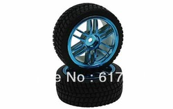 Free shipping 6 Curved dual-spoke Painted Wheels rims and tyres tires 1 set 4pcs for 1/10 on road car(China (Mainland))