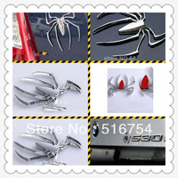 3D Car Sticker Spider Decals Paster Car Decoration Silver Metal Chrome Badge Emblem HM053