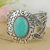Min. order $5 sale promotion vintage big blue turquoise wide cuff bangel bracelet antique silver plated free shipping RuYiSL89