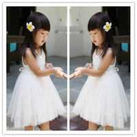 Summer fashion baby girl white rose tank dress lovely girls pure white gauze sleeveless dress girl pretty party clothes 5pcs/lot