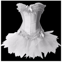 3 Color Swan Costume , Satin Lace Up Overbust Corset with Tutu Skirt, Halloween Outfit  Costumes,Dropshipping