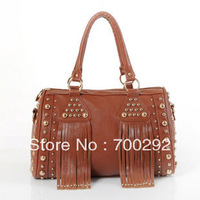 one shoulder cross-body style tassel and punk rivet  fashion women's handbags