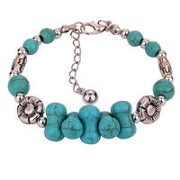 Hot selling fashion 100% high quality women's turquoise  tibetan silver bracelet silver arm bangle/Free shipping