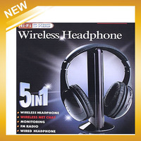 Factory price,5 in 1 HIFI Wireless headphone Earphone Headset wireless Monitor FM radio for MP4 PC TV audio,free shipping