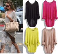 2012 New Casual Batwing Womens Ladies Loose Asymmetric Knit Coat Top Sweater T-shirt Waistcoat Pullover Women