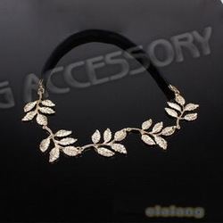 Free Shipping 3PCS /lot Fashion Golden Alloy Leaf Black Elastic Hair Headband Hair Accessories for Women 300001(China (Mainland))