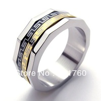 Punk rock accessories fashion Golden Great Wall black grain stainless steel rings man ring free shipping 075676