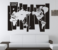0829 Version Map of The World Family Office Vinyl Wall Art Room Decor Gift Stickers World Maps Home Decorations