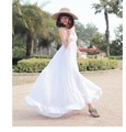 HOT!!! Women's Elegant Bohemian Dresses Cotton White Sleeveless V-Neck Large Sweep Beach Casual Dress QG07