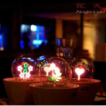 Romantic Fireworks Night Light Flower LED Lamp Artificial Grass Potted Plants Night Lighting Best Christmas Gift